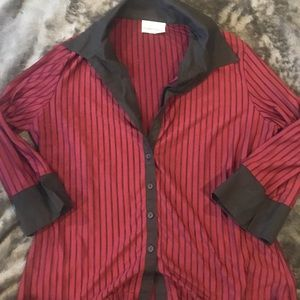 Fashion Bug Red And Black Blouse